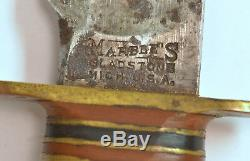 1900's Marble's Hunting Knife Clip Point Bone Handles 9 Long No Pins