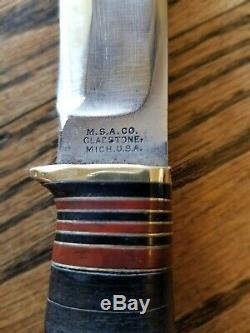 1905-10 Vintage M. S. A. CO. 6 Ideal Marbles Stag Bowie Knife Excellent Rare Case