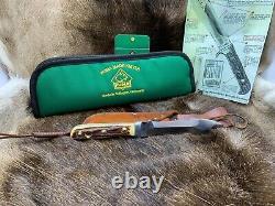1967 Puma 6377 White Hunter Knife Stag Handles Leather Sheath Puma Pouch Mint A