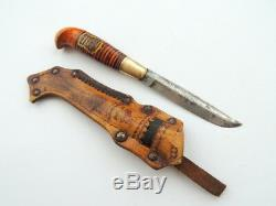 20's Antique Finland Puukko Hunter Knife Steel Leather Sheath Wood Handle