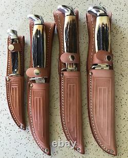 Antique/vintage Stag Case XX USA 1978 Red Letter Hunting Knife Set/lot/ Mint Pcs