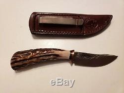 BEHRING MADE KNIVES James Jr. Woodcraft Pocket Knife Gorgeous Stag & Sheath