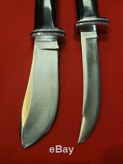 BUCK USA 103 & 118 TWIN COMBO KNIFE SET 1970's withCombo Sheath Fixed Blade Knives