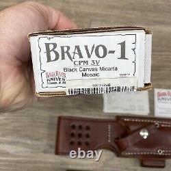 Bark River Knives Bravo 1 CPM 3V Black Canvas Micarta Mosaic Pins