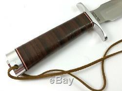 Blackjack USA Fixed Blade Stacked Leather Hunting Knife + Sheath & Box 3890-LTQ