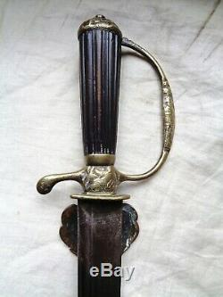 Ca 1750 ANTIQUE EUROPEAN SWORD FRENCH ITALIAN HUNTING HANGER DAGGER BOWIE KNIFE