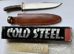 Cold Steel Trail Master Knife 16S Stag handle In Box WithSheath Vintage