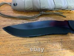 Custom Grayman Knives Engraved Darfur Defender with Dark Earth Cordura Sheath