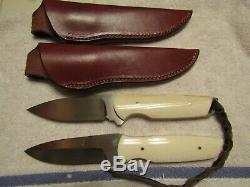 Custom Ordered Handmade Knife Set. Hunter And Fighter. Claude Montjoy. Unused