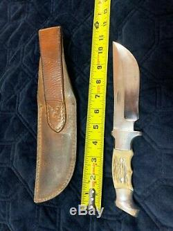 Custom R. H. RUANA CUSTOM MODEL M STAG KNIFE STAMP-ELK-SHEATH-1962-1983 US Made