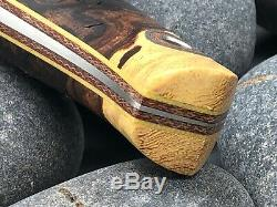 Fiddleback Forge By Andy Roy Burl Wood /Yellow Liner 7.75 Hunting Knife
