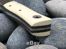 Fiddleback Forge MONARCH Brown Micarta & Smooth Ivory Color Handle 7.75 Knife