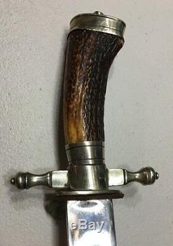Genuine German Imperial Hunting Dagger Sword With Skinning Knife Antler Stag