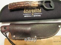 Handmade Knife Jim Behring Treeman Recon Hunter + Stag Bottle Opener. Mint