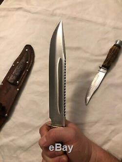 Hirschkrone Solingen Rostfrei Double knife set withsheath. Read listing