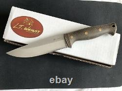 LT Wright Forest Trail Custom Fixed Blade Knife Green Canvas A2 Saber Grind