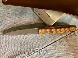 LT Wright GNS Bushcraft Knife with Scandi blade 01 steel & Micarta Mountain Scales