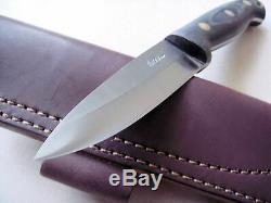 LT Wright GNS CPM 3V Steel Convex edge Black Micarta Matte Knife and Sheath