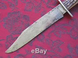 Landers Frary & Clark LF&C Vintage Hunting Bowie Knife, Stag Handle, withSheath