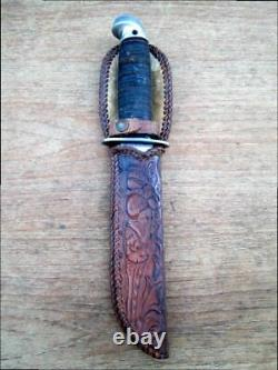 Lg. Vintage WESTERN BOULDER Combat Fighting Hunting Bowie Knife withCustom Sheath