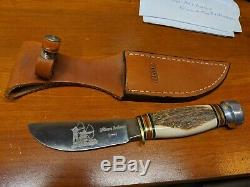 MARBLES Hunter USA STAG handle KNIFE w sheath! 3 River Archery limited