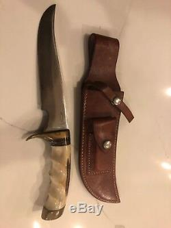 MASSIVE Clyde Fischer 77901 Hunting Knife Antler Handle Blade With Sheath