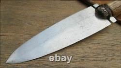 MASSIVE Custom Vintage RUSSELL GRW Dag Smatchet Hunting Knife withStag & A+ Sheath