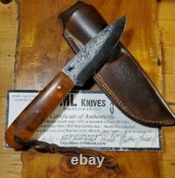ML Knives Custom Forged Bushcraft Hunting Trail EyeCandyBurl Knife LeatherSheath