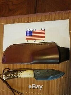 ML Knives hill country spear point, stag handle, 1095, used, sheath
