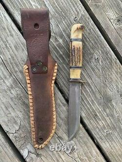 MORSETH THREE PIECE STAG EARLY 50s HUNTING KNIFE EVERETT WA