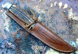 Old CASE Hunting Knife 5 FINN Vintage with Thick Stag & Squared Pommel + Sheath