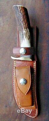 Old Randall Hunting Skinning Knife 20 EXCELLENT with Stag Sheath Stone Full Blade