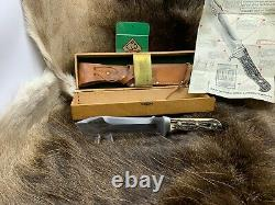 Pre 1964 Puma 6377 White Hunter Knife Stag Handles Sheath Presentation Box A1