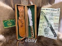 Pre 1964 Puma 6377 White Hunter Knife Stag Handles Sheath Presentation Box A2