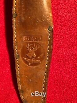 R. H. RUANA BONNER MONTANA M STAMP BOWIE STYLE HUNTING KNIFE With Original Sheath