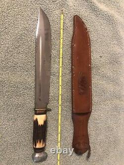 R. J. Richter Solingen Germany Bowie Knife Stag Handle 15 Inch with Original Sheath