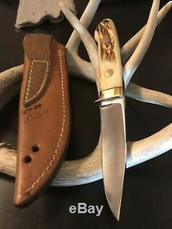 R. W. Loveless Custom Knife Maker 4 Straight Hunter-stag-sheath