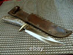 RARE CUSTOM 1960's USA STAG BONE 12 BOWIE HANDMADE VINTAGE HUNTING KNIFE & CASE