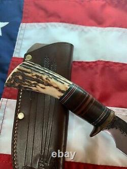Randall Knives Hybrid Behring Made Rick Bowles Special, SS, Custom Stag Handle