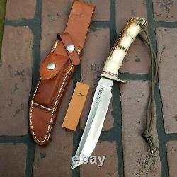 Randall Made Knives 3-6 STAG W COMPASS Leather Sheath Smooth button NICE
