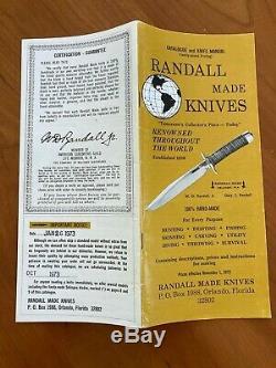 Randall Made Knives Vintage Model 7 Fisherman Hunter with Manual & Catalog