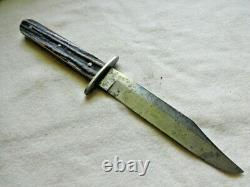 Rare Antique 1865 Cambridge Cutlery Works Sheffield Sheath Knife Stag Handle