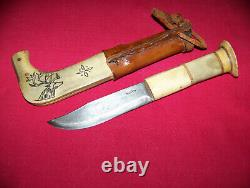 Rare Old Rare Norway Lapland Beautiful Hunting Hand Made Reindeer Knife WithSheath