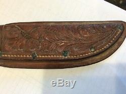 Rare Vintage H H Heiser Denver 249 Leather Knife Sheath Floral Ornate