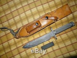 Robert Parrish Survival Knife Leather Sheath withstone RARE