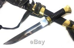 Russian Plastun knife Cossack with leather sheath on foot, Stainless steel