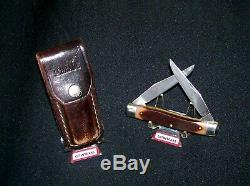 Schrade 77OT Knife & Sheath Used Old Timer USA Made Great Hunting Knives Rare