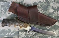 Silver Stag SG4.75ES Genuine Bullnose Fixed Blade Knife Brown Leather Sheath