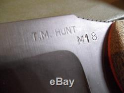 TM Hunt M18 Full Custom 10 Fixed Blade Knife Brown Kydex Sheath Hand Made #98