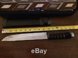 Takeshi Saji custom handmade damascus blade hunting knife rayskin handle